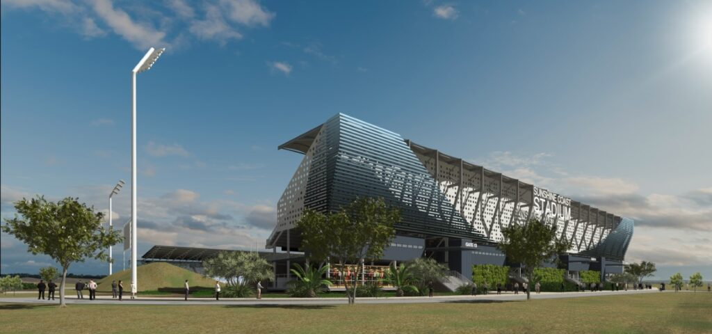 Render image of the proposed Sunshine Coast Stadium Expansion facade post-construction, for which ADG has provided structural engineering design and analysis for the expansion of the steel structure.